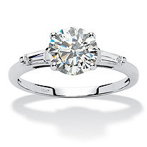 1.78 TCW Round and Baguette Cubic Zirconia 10k White Gold 3-Stone Engagement Ring