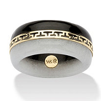"Round Black and White Jade 14k Yellow Gold ""Greek Key"" Ring"