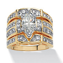 3.05 TCW Marquise-Cut Cubic Zirconia 18k Gold over Sterling Silver Bridal Engagement Set