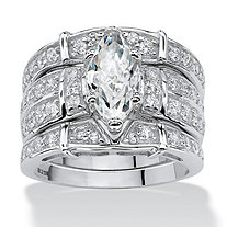 3.05 TCW Marquise-Cut Cubic Zirconia Sterling Silver Bridal Engagement Ring Wedding Band Set