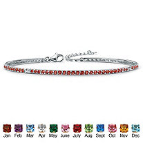 Round Simulated Birthstone Silvertone Stackable Tennis Bracelet 7 1/2