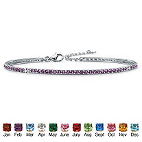 Round Simulated Birthstone Silvertone Stackable Tennis Bracelet 7 1/2""