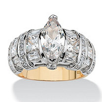 4.17 TCW Marquise-Cut Cubic Zirconia 18k Yellow Gold Over Sterling Silver Ring