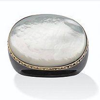 "Oval-Shaped Genuine Mother-Of-Pearl and Genuine Black Jade 14k Yellow Gold ""Greek Key"" Ring"