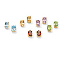 5.04 TCW Oval-Cut Genuine Gemstones 18k Gold over Sterling Silver Stud Earrings Set