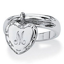 Silvertone Personalized I.D. Heart Charm Initial Ring