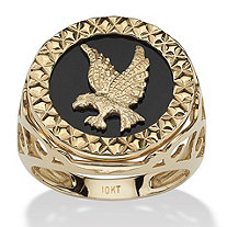 Men's Round Genuine Onyx 10k Yellow Gold Hammered Eagle Ring