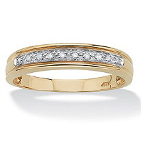 Men's .10 TCW Round Diamond 10k Yellow Gold Anniversary Ring Wedding Band