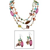 Multi-Color Genuine Shell and Lucite Silvertone Metal Necklace and Drop Earrings Set