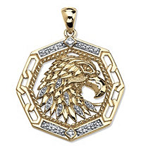 Men's Diamond Accented Eagle Pendant in 18k Gold over Sterling Silver