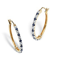 .82 TCW Genuine Midnight Blue Sapphire 18k Gold over Sterling Silver Hoop Earrings