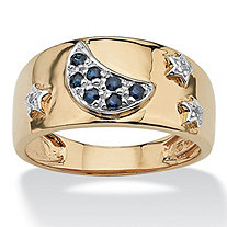 Genuine Midnight Blue Sapphire 18k Yellow Gold over Sterling Silver Moon & Stars Ring