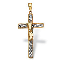 Diamond Accented Footprints Cross Pendant in 18k Gold over Sterling Silver