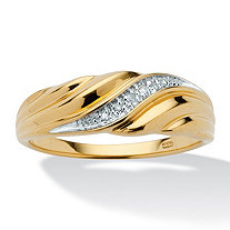 Men's Diamond Accent Ring in 18k Gold over Sterling Silver