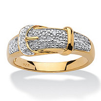 1/10 TCW Round Diamond 18k Yellow Gold over Sterling Silver Buckle-Shaped Band Ring