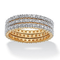 3 Piece Diamond Accented Eternity Band Set in 18k Yellow Gold over Sterling Silver