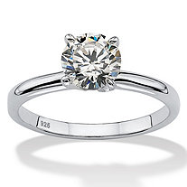 1.07 TCW Round Cubic Zirconia Sterling Silver Bridal Engagement Traditional Solitaire Ring