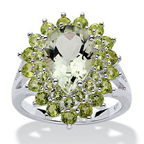 6.09 TCW Pear Cut Green Genuine Amethyst Genuine PerI.D.ot Accent Sterling Silver Ring