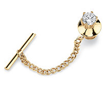 Men's 1.25 TCW Round Cubic Zirconia Tie Tac in Yellow Gold Tone