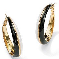 14k Yellow Gold-Plated Black and White Enamel-Finish Hoop Earrings