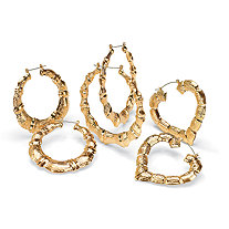 14k Yellow Gold-Plated Bamboo Style Hoop Earrings 3-Pairs Set
