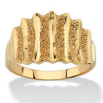 18k Yellow Gold over Sterling Silver Textured Vertical-Row Concave Ring