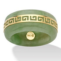 "Genuine Green Jade 14k Yellow Gold ""Greek Key"" Ring"