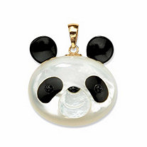 Genuine Mother-Of-Pearl and Reconstituted Onyx 14k Yellow Gold Panda Bear Pendant