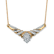1/10 TCW Diamond Cluster Chevron Necklace in 10k Gold
