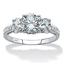 3.15 TCW Round and Oval-Cut Cubic Zirconia 10k White Gold 3-Stone Bridal Engagement Ring