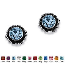 Round Simulated Birthstone Sterling Silver Stud Earrings