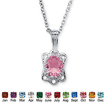 Oval-Cut Simulated Birthstone Sterling Silver Pendant and Rollo-Link Chain