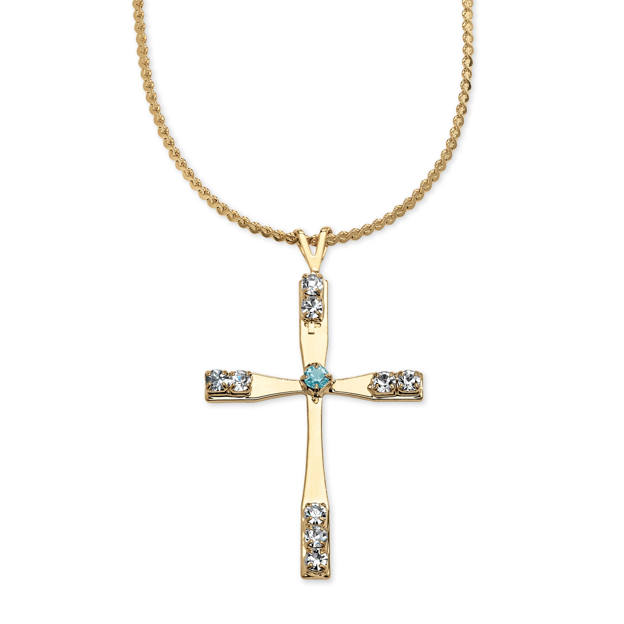 birthstone yellow gold tone cross necklace 18 ebay. Black Bedroom Furniture Sets. Home Design Ideas