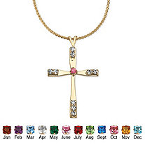 Birthstone Cross Pendant Necklace in Yellow Gold Tone