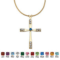 Simulated Birthstone Cross Pendant and Necklace in Yellow Gold Tone 18""