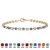 Simulated Birthstone and Crystal Accent Tennis Bracelet in Yellow Gold Tone