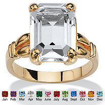 Emerald-Cut Birthstone Ring in 14k Gold-Plated
