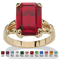 Emerald-Cut Simulated Birthstone 14k Yellow Gold-Plated Ring