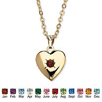 Simulated Birthstone Heart Photo Locket and Chain in Yellow Gold Tone
