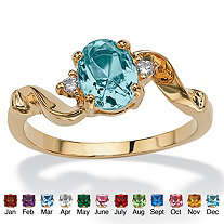 Oval-Cut Simulated Birthstone Crystal Accent 14k Yellow Gold-Plated Ring