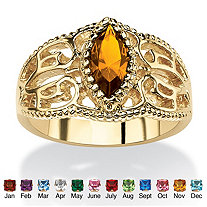 Marquise-Cut Birthstone Filigree Ring in 14k Gold-Plated