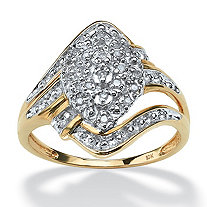 1/10 TCW Round Diamond 10k Yellow Gold Swirled Cluster Ring