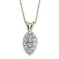 1/10 TCW Diamond Pave Cluster 10k Yellow Gold Drop Pendant and Chain 18