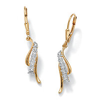 Diamond Accented Waterfall Drop Earrings in 18k Gold over Sterling Silver