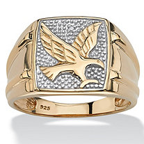 Men's Round Diamond 18k Yellow Gold Over Sterling Silver Eagle Ring