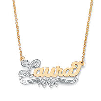 18k Yellow Gold over Sterling Silver Two-Tone Personalized Double-Heart Nameplate Necklace 18
