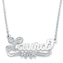 Sterling Silver Double-Heart Nameplate Necklace 18