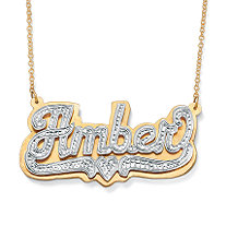 18k Yellow Gold over Sterling Silver Two-Tone Personalized Heart Nameplate Necklace 18""