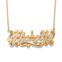 18k Gold over Sterling Silver Personalized Multi-Heart Nameplate Necklace 18""