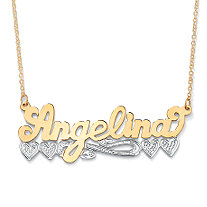 18k Yellow Gold over Sterling Silver Two-Tone Personalized Multi-Heart Nameplate Necklace 18